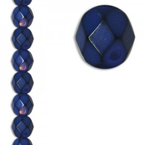 6mm Snake Blue Round Fire Polished Czech Beads - 7 Inch Strand (Apx 29 Beads)