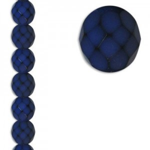 8mm Snake Blue Round Fire Polished Czech Beads - 7 Inch Strand (Apx 22 Beads)