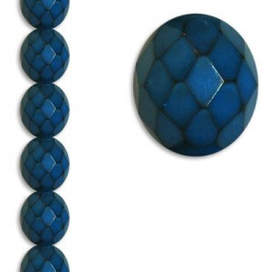 12mm Snake Teal Round Fire Polished Czech Beads - 7 Inch Strand (Apx 15 Beads)