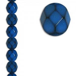 6mm Snake Teal Round Fire Polished Czech Beads - 7 Inch Strand (Apx 29 Beads)