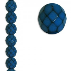 8mm Snake Teal Round Fire Polished Czech Beads - 7 Inch Strand (Apx 22 Beads)