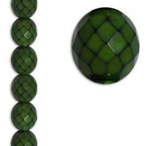 12mm Snake Olive Round Fire Polished Czech Beads - 7 Inch Strand (Apx 15 Beads)