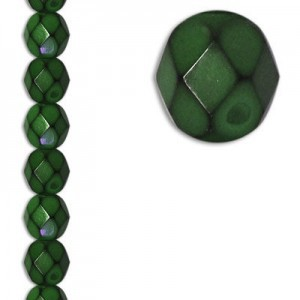 6mm Snake Olive Round Fire Polished Czech Beads - 7 Inch Strand (Apx 29 Beads)