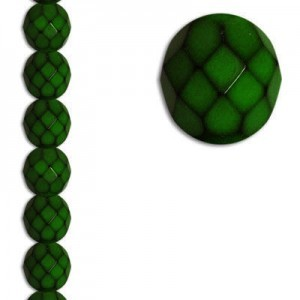 8mm Snake Olive Round Fire Polished Czech Beads - 7 Inch Strand (Apx 22 Beads)