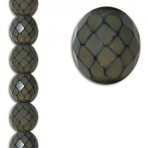 12mm Snake Taupe Round Fire Polished Czech Beads - 7 Inch Strand (Apx 15 Beads)
