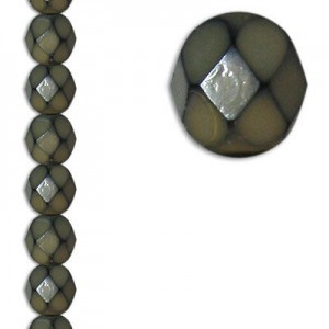 6mm Snake Taupe Round Fire Polished Czech Beads - 7 Inch Strand (Apx 29 Beads)