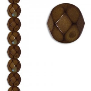 6mm Snake Brown Round Fire Polished Czech Beads - 7 Inch Strand (Apx 29 Beads)