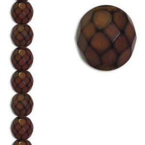 8mm Snake Brown Round Fire Polished Czech Beads - 7 Inch Strand (Apx 22 Beads)