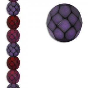 8mm Snake Berry Mix Round Fire Polished Czech Beads - 7 Inch Strand (Apx 22 Beads)