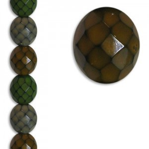 12mm Snake Earthy Mix Round Fire Polished Czech Beads - 7 Inch Strand (Apx 15 Beads)