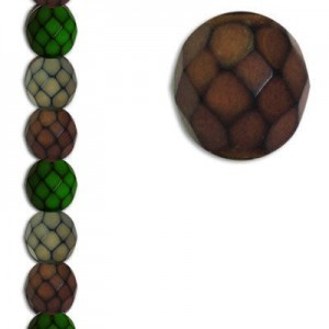8mm Snake Earthy Mix Round Fire Polished Czech Beads - 7 Inch Strand (Apx 22 Beads)