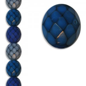12mm Snake Ocean Mix Round Fire Polished Czech Beads - 7 Inch Strand (Apx 15 Beads)