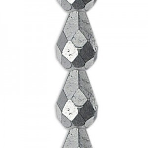 7x5mm Matte Silver Fire Polished Tear Drops Czech Beads - 7 Inch Strand (Apx 25 Beads)