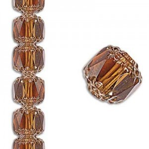 6mm Crown Picasso Honey Antiqued Bronze 7 Inch Strand (Apx 29 Beads)