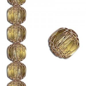 8mm Crown Picasso Topaz Antiqued Bronze 7 Inch Strand (Apx 22 Beads)