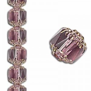 6mm Crown Picasso Amethyst Antiqued Bronze 7 Inch Strand (Apx 29 Beads)