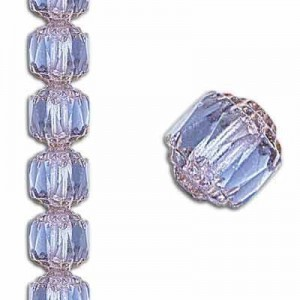 6mm Crown Picasso Light Sapphire Antiqued Bronze 7 Inch Strand (Apx 29 Beads)