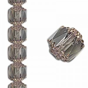 8mm Crown Picasso Black Diamond Antiqued Bronze 7 Inch Strand (Apx 22 Beads)