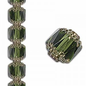 8mm Crown Picasso Olivine Antiqued Bronze 7 Inch Strand (Apx 22 Beads)