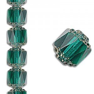 8mm Crown Picasso Teal Antiqued Bronze 7 Inch Strand (Apx 22 Beads)