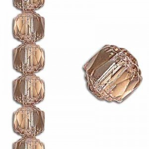 8mm Crown Picasso Pink Antiqued Bronze 7 Inch Strand (Apx 22 Beads)