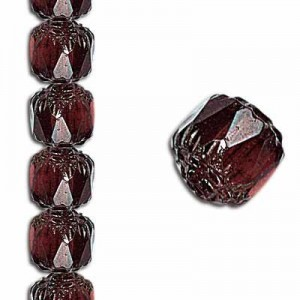 6mm Crown Picasso Light Garnet Antiqued Bronze 7 Inch Strand (Apx 29 Beads)