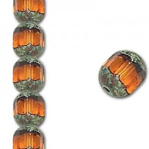 8mm Topaz Fire Polished Picasso 7 Inch Strand (Apx 22 Beads)