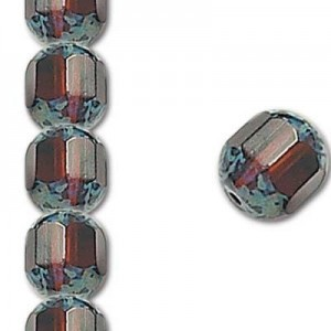 8mm Madeira Topaz Fire Polished Picasso 7 Inch Strand (Apx 22 Beads)