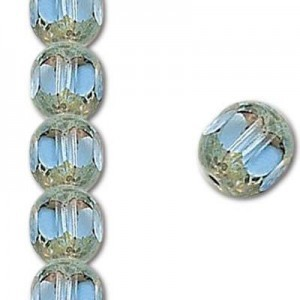 10mm Light Sapphire Fire Polished Picasso 7 Inch Strand (Apx 18 Beads)