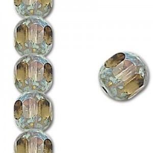 8mm Black Diamond Fire Polished Picasso 7 Inch Strand (Apx 22 Beads)