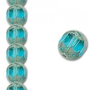 10mm Aqua Fire Polished Picasso 7 Inch Strand (Apx 18 Beads)
