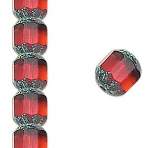 8mm Siam Fire Polished Picasso 7 Inch Strand (Apx 22 Beads)