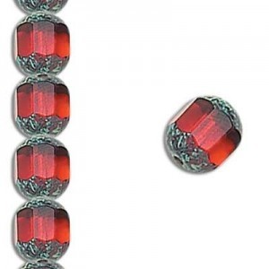 10mm Garnet Fire Polished Picasso 7 Inch Strand (Apx 18 Beads)