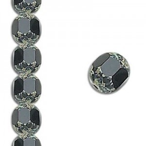 10mm Jet Fire Polished Picasso 7 Inch Strand (Apx 18 Beads)