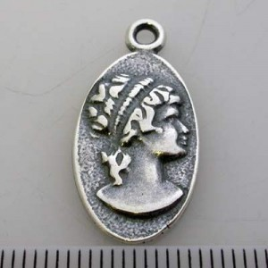 21x13mm Cameo Pendant / Charm Pewter W/ Ant Silver Finish 6pcs