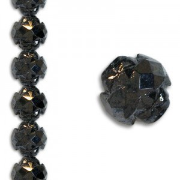 8mm Crown Rosebud Hematite 7 Inch Strand (Apx 22 Beads)