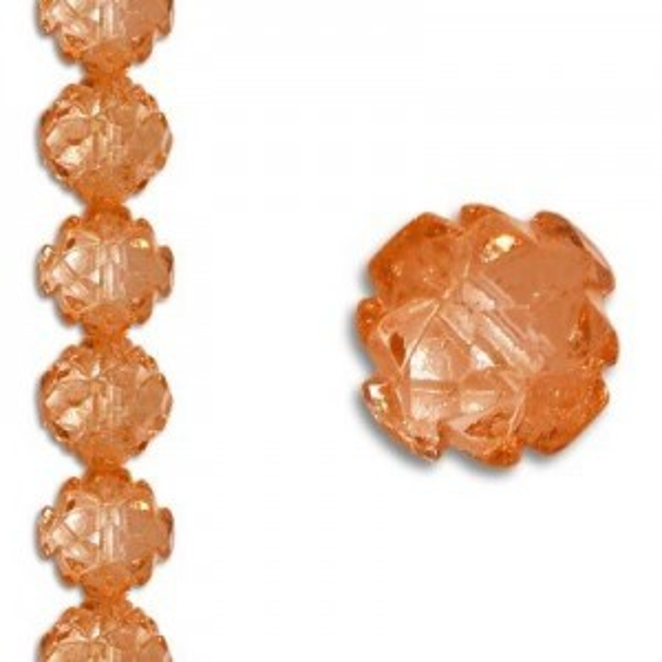 8mm Crown Rosebud Salmon 7 Inch Strand (Apx 22 Beads)