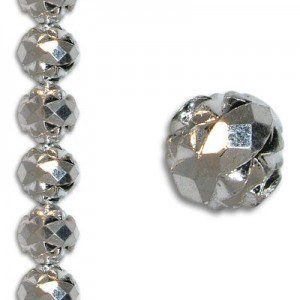 8mm Crown Rosebud Silver 7 Inch Strand (Apx 22 Beads)