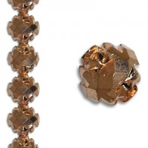 8mm Crown Rosebud Copper 7 Inch Strand (Apx 22 Beads)
