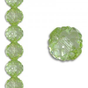 8mm Crown Rosebud Lime 7 Inch Strand (Apx 22 Beads)