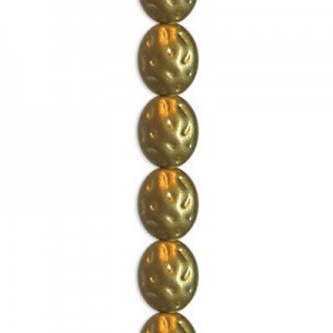 11x9mm Matte Gold Filigree Bead Czech Glass - 7 Inch Strand (Apx 16 Beads)