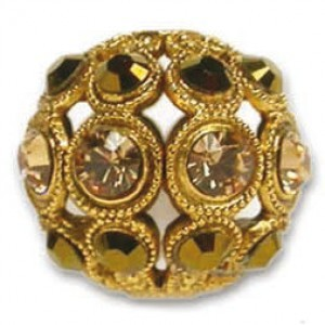 8mm Light Colorado Topaz/Dorado Combo on Antique Gold Swarovski® Rhinestone Encrusted Balls