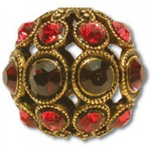 8mm Burgundy/Padparadscha Combo on Antique Gold Swarovski® Rhinestone Encrusted Balls