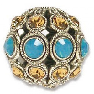 13mm Caribbean Blue Opal/Light Colorado Topaz Combo on Antique Silver Swarovski® Rhinestone Encrusted Balls