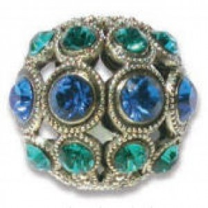 8mm Capri Blue/Zircon on Antique Silver Swarovski® Rhinestone Encrusted Balls