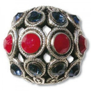 13mm Dark Red Coral/Montana Combo on Antique Silver Swarovski® Rhinestone Encrusted Balls