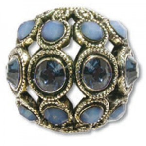 13mm Montana/White Opal Sky Blue Combo on Antique Silver Swarovski® Rhinestone Encrusted Balls