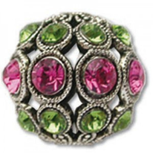 13mm Rose/Peridot Combo on Antique Silver Swarovski® Rhinestone Encrusted Balls