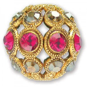 13mm Ruby/Crystal Bronze Shade Combo on Antique Gold Swarovski® Rhinestone Encrusted Balls