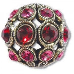 8mm Ruby/Rose Combo on Antique Silver Swarovski® Rhinestone Encrusted Balls